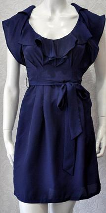 Blue Frill Collar and Pocket Dress S6/8