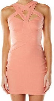 Apricot Fitted dress with cross neck S10
