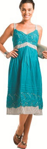 Aqua Blue Cotton Day Dress S14
