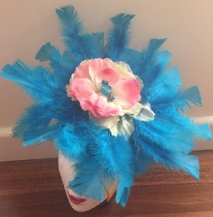 Aqua Feathers with Pink Rose sold