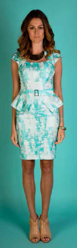 Aqua Peplum Dress S16,18