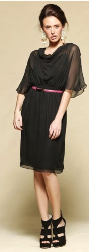 Black 100% silk Art Dress S12, 14, 16