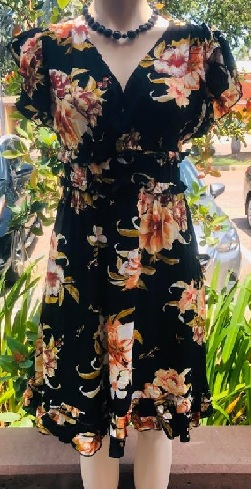 Black Floral Day Dress S8,10,12,14