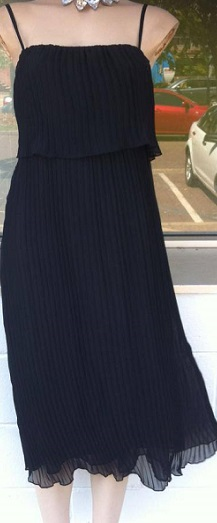 Black Pleated Chiffon Dress S6,8,10