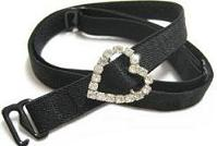 10mm Black Bra strap with Bling Heart