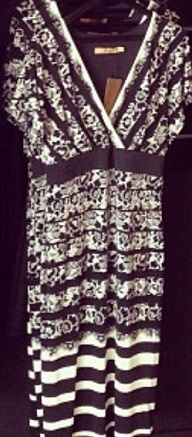 Black and White Lace Print Dress (not actual lace) S 14