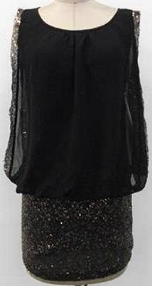 Black Chiffon Gold Sequin S8