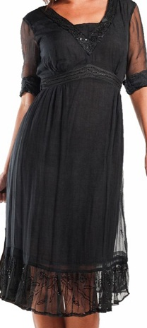 Black Rayon Dress with chiffon sleeves S16