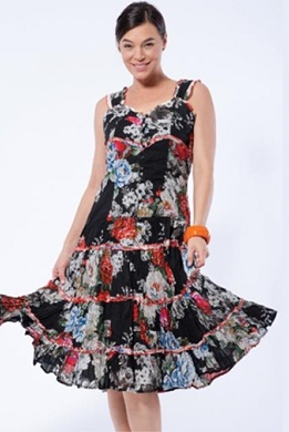 Black Floral 100% Cotton Dress S20
