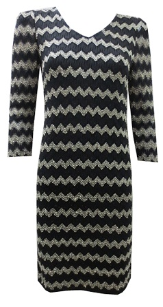 Black Gold ZigZg Stretch with Sleeves Dress S8,10