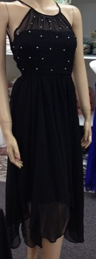Black Chiffon Sparkle Dress (Long version) S8,10,12