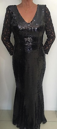 Black sequin Lace Sleeved Gown S8,10,14,16