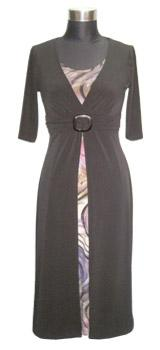 Black Jersey Dress with Sleeves and colour S16