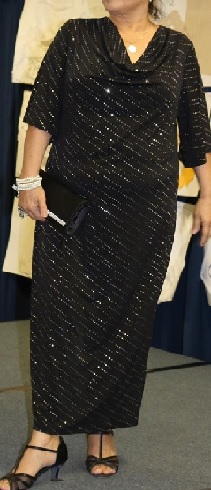 Black Sparkle Cowl Neck Evening Dress S18,20,22