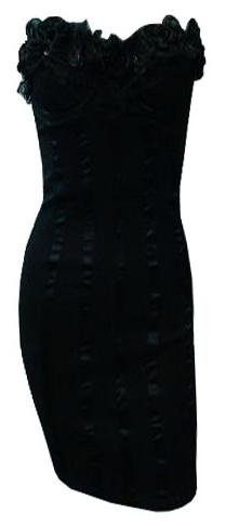 Black Ruffle Beaded Detailed Dress S12