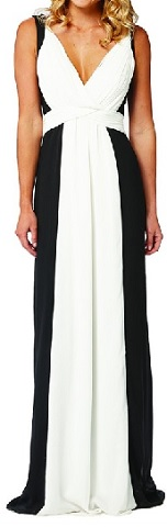 Black White Chiffon Flowy Gown S10/12