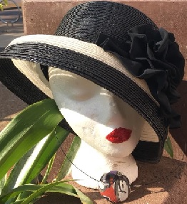 Black White Flower Hat