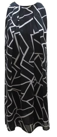 Black White Print Chiffon Flowy Dress (falls below knee) S8,10,12,14