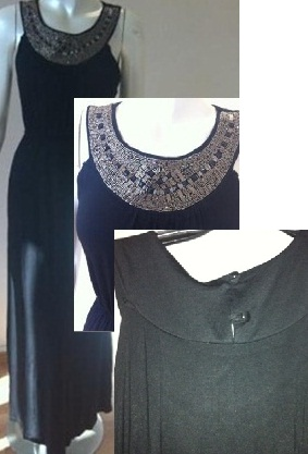 Black Beaded Neckline Maxi S10,12
