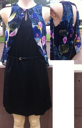 Black Dress with Floral Chiffon overlay S8,10,12