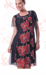 Black with Floral Sleeved Chiffon Dress S12/14