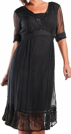 Black Dress with Sheer Layer S16