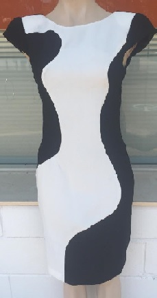 Black White Stretchy Dress S8 ,14