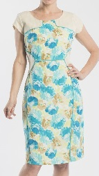 Blue Beige Floral Dress Cotton S14,20