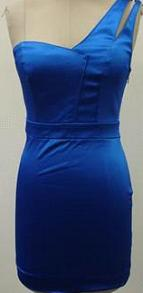 One Shoulder Short Satin Dress  Blue S10 Blk  S10