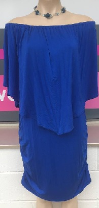 Blue Ruched Cape Dress S10/12