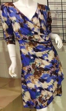 3/4 Sleeved Blue Floral Dress S8,14