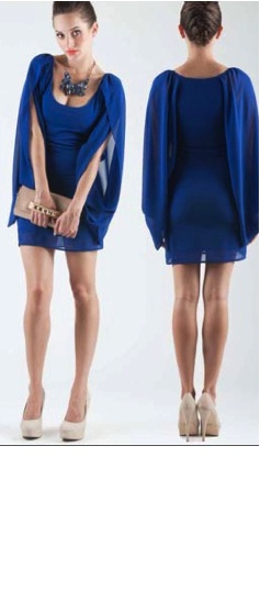 Blue Chiffon Sleeved Dress S6/8