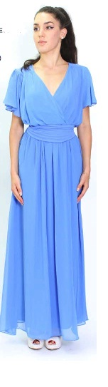 Blue Chiffon with butterfly Sleeves Maxi S10