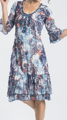 Blue Print Sleeved Cotton Dress S8,10,12,14,18 (china blue print only)