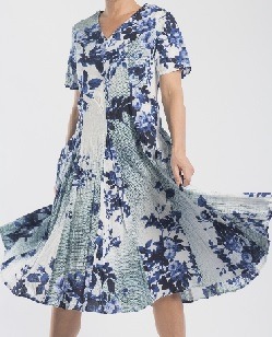 Print Full Skirt Cotton Dress Blue Sold out -  Grey print S14,16