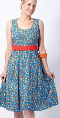 Blue with red yellow floral print Cotton S12,14