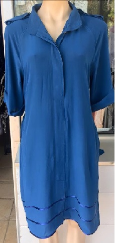 Silk Blue Sleeved Dress S12
