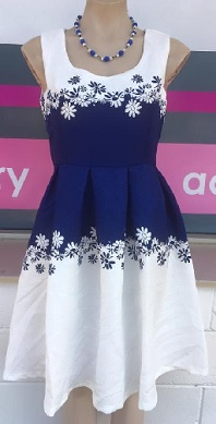Navy White Dress with sleeves (sleeves not in photo) S16