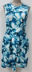 Corine Blue White Floral Race Dress S12