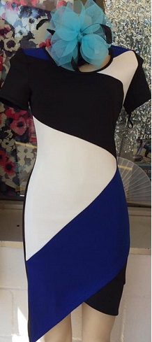 Blue Black Fitted Dress S8,10,12,14