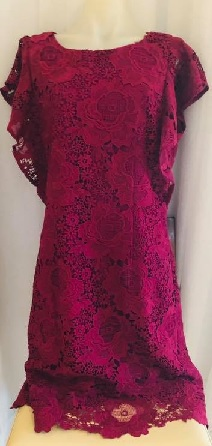 Burgandy Lace with Frilled Sleeves Dress S14,16