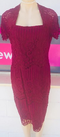 Burgandy Lace Dress S14,  and optional Jacket  S12,16