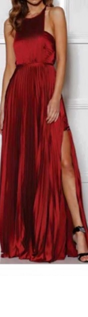 Burgandy Pleated Gown s10,12 Silver S10