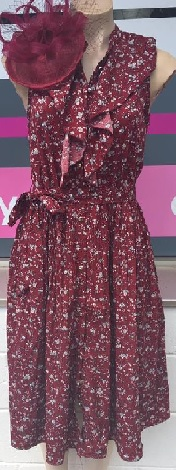 Frill Dress Burgandy S14