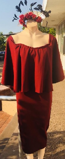 Burgandy Off Shoulder Dress S10/12
