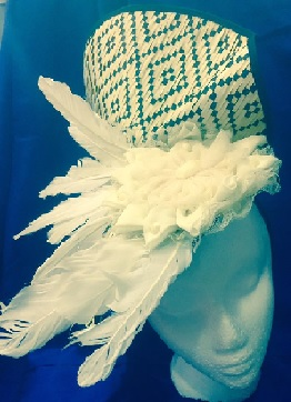 Black White w Feathers Facinator $89