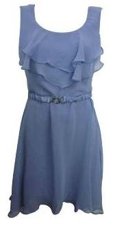 Chiffon Frill Front Dress with Belt  Lavender S10, 14