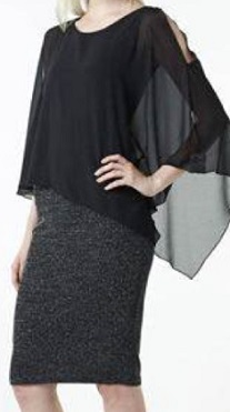 Evening Cape Silver Skirt (no zip) Dress S10,14, Black bling Cape S12