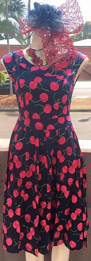 Cherry Dress Navy Red S8 Navy Red Cherry Print S8,10,14