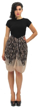Chic Dress with Sleeved Black Top and Draped Skirt S12,14/16